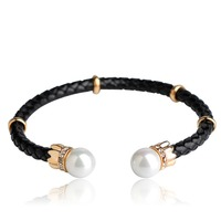 Blucome Men Women Simulated Pearls Leather Bracelets Braided Rope Clasp Male Twist Adjustable Cuff Open Bracelets