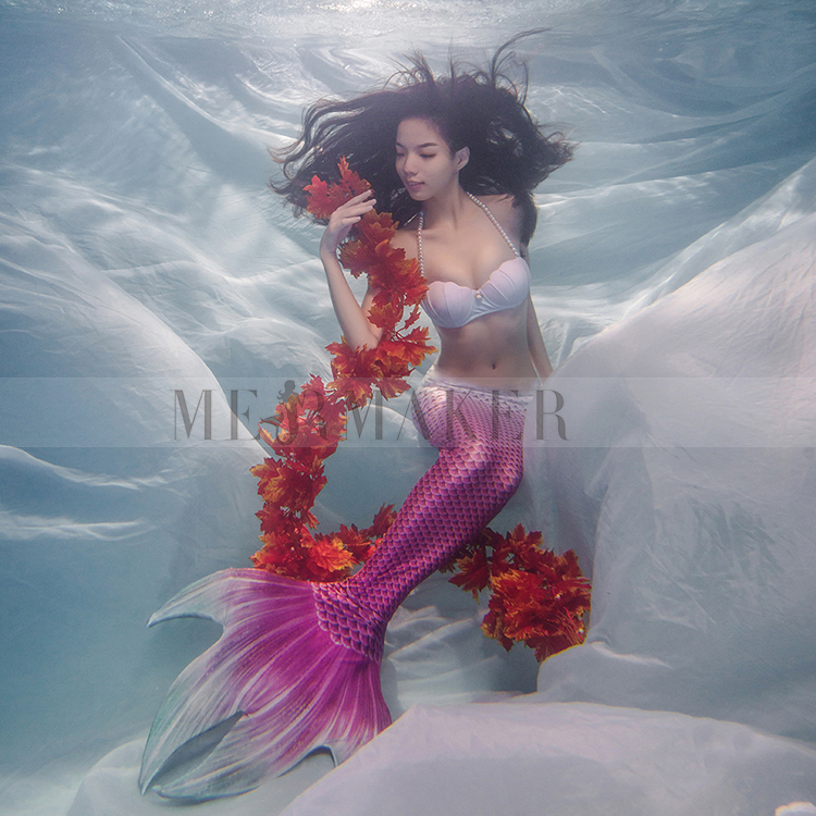 2019 New 2Pcs Adults Mermaid Tail with monofin Swimmable Filpper Costume for Women Cosplay Costumes Swimming Swimwear Costumes