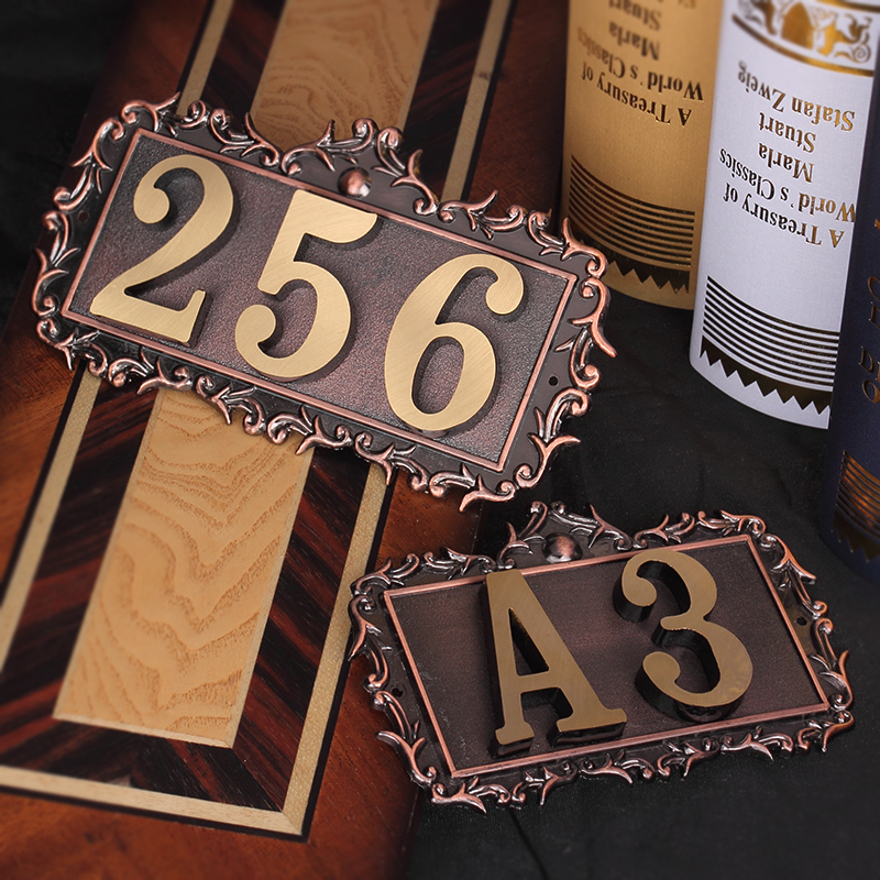 1 Pcs 2 3 4 <font><b>Digits</b></font> Door Plates Brass Safety Doorplate Number Letters Outdoor <font><b>Billboard</b></font> Light House Apartment Number All Copper image