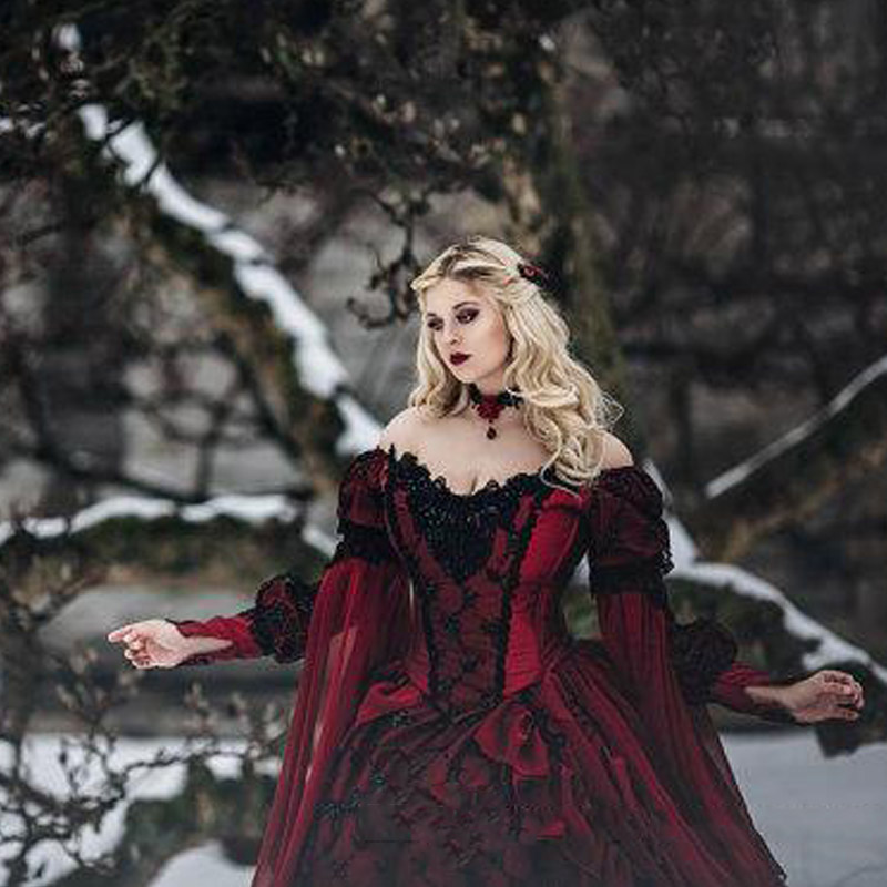 86d240334a09e Gothic Sleeping Beauty Princess Medieval Red and Black Wedding Dress Ball Gown  Long Sleeve Lace Embroidery Victorian Bridal Gown-in Wedding Dresses from .