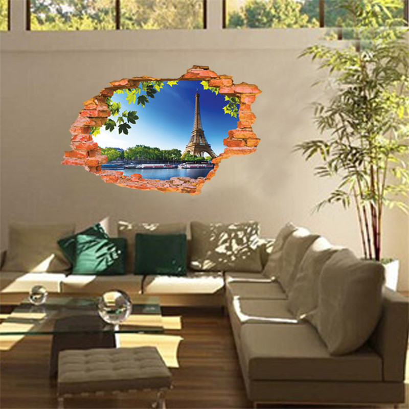 Creative Paris Eiffel Tower Home Decor Decals DIY living Room Decoration Wall Stickers Mural Poster Viney