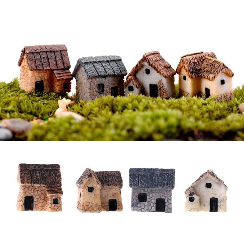 4Pcs/Set Miniature Gardening Landscape Micro Village Stone Houses Garden Decor