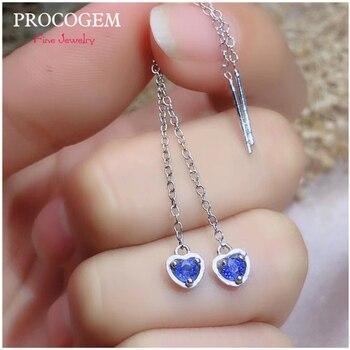 PROCOGEM Heart Shape Natural Sapphire Drop Earrings Ear Line for Women Party Gifts 0.15Ct Real Gemstone 925 Sterling silver #544