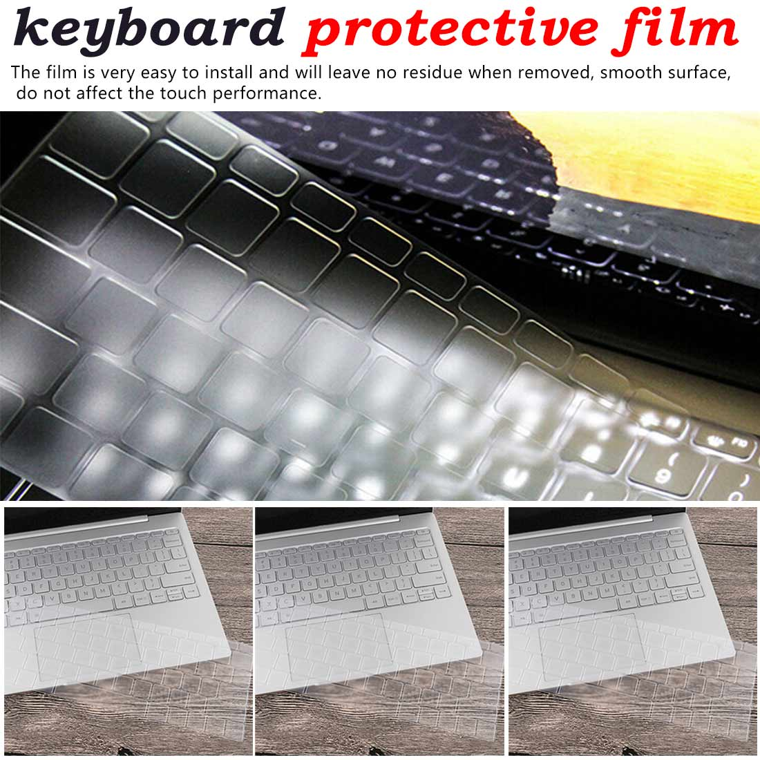Keyboard Stickers Silicone Spanish Keyboard Cover for <font><b>Xiaomi</b></font> <font><b>Mi</b></font> <font><b>Notebook</b></font> Air 12.5 13.3 <font><b>Pro</b></font> <font><b>15.6</b></font> Skins Protector Film image