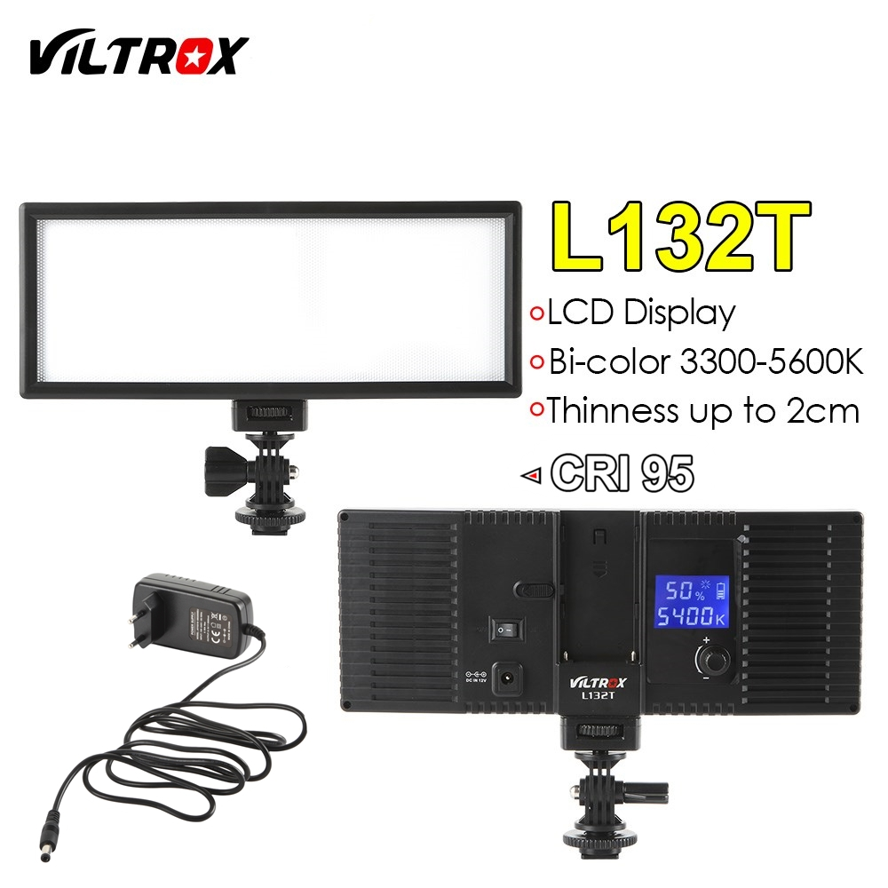 Viltrox L132T Camera LED video light LCD Display Bi Color Dimmable Slim DSLR AC power Adapter