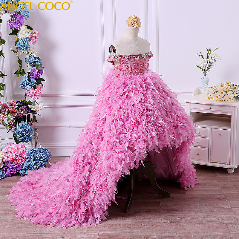 Luxury Custom Model Girl Gown Beauty Contest Catwalk Before After Long Tailing Feather Costumes Flower Children Evening Dress in Dresses from Mother Kids