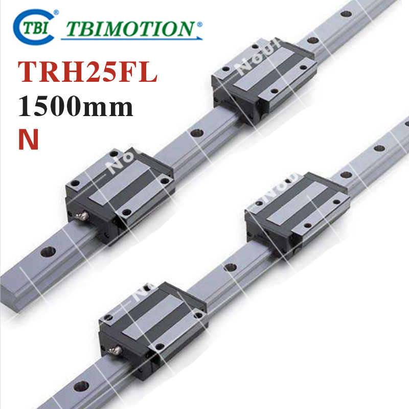 TBI 2pcs TRH25 1500mm Linear Guide Rail+4pcs TRH25FL linear block for CNC hig quality linear guide 1pcs trh25 length 1200mm linear guide rail 2pcs trh25b linear slide block for cnc part