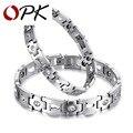 OPK Health Care Couple Bracelet Stainless Steel + Cubic Zirconia Woman Man Bracelet Magnet Stone Women Men Jewelry GS3357