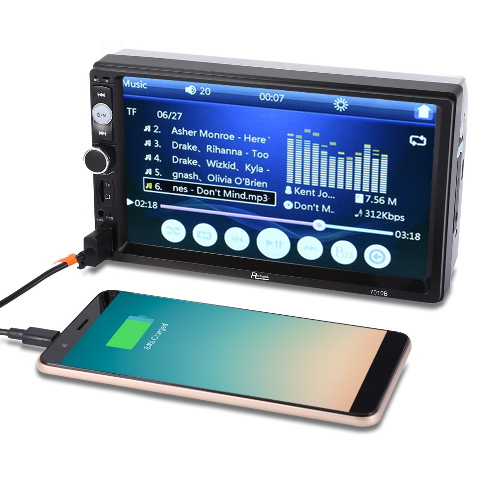 7010B MP5 Car Player 2Din 7inch Touch Screen Audio Stereo Multimedia FM/MP5/USB/AUX/Bluetooth Camera Car Video