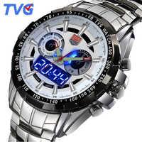 Tvgファッション高級デジタルスポーツ腕時計メンズミリタリーデュアルタイムクォーツ腕時計防水時計男性2017ステンレス鋼