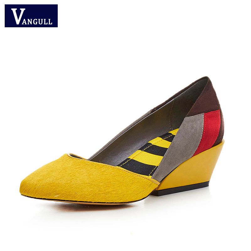 Vangull Women Pumps Daily-Shoes Thick-Heels Mix-Color Poninted Fashion Horse-Hair Work-Party