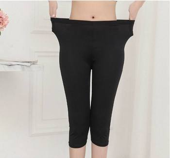 lady summer knee length solid black capris women slim fitted pencil short pants female mujer stretch leggings