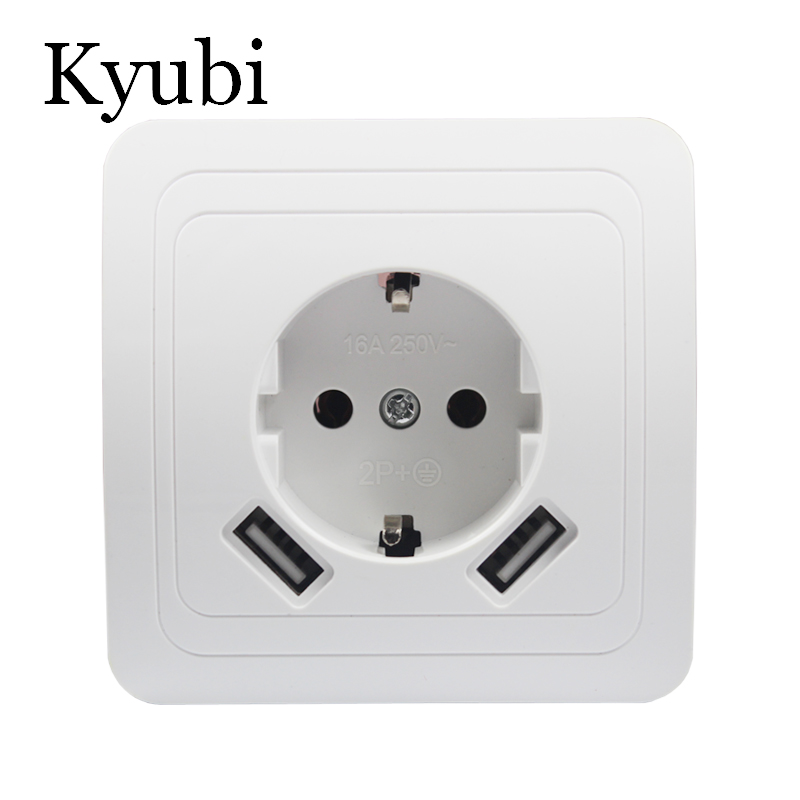 USB Wall Socket Free shipping Double USB Port 5V 2A Usb nice design pared prise electrique prise usb murale steckdose B001