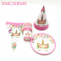 80Pcs/Lot Cups+Plates+Caps Pink Unicorn Theme Flag Decoration For Kids Birthday Party Wedding Family Party Baby Shower Supply