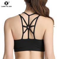 PLCPAY Women Cross Back Sexy Sports Bra Padded High Impact Workout Running Yoga Bra Fitness Crop Top Brassiere Sport Femme