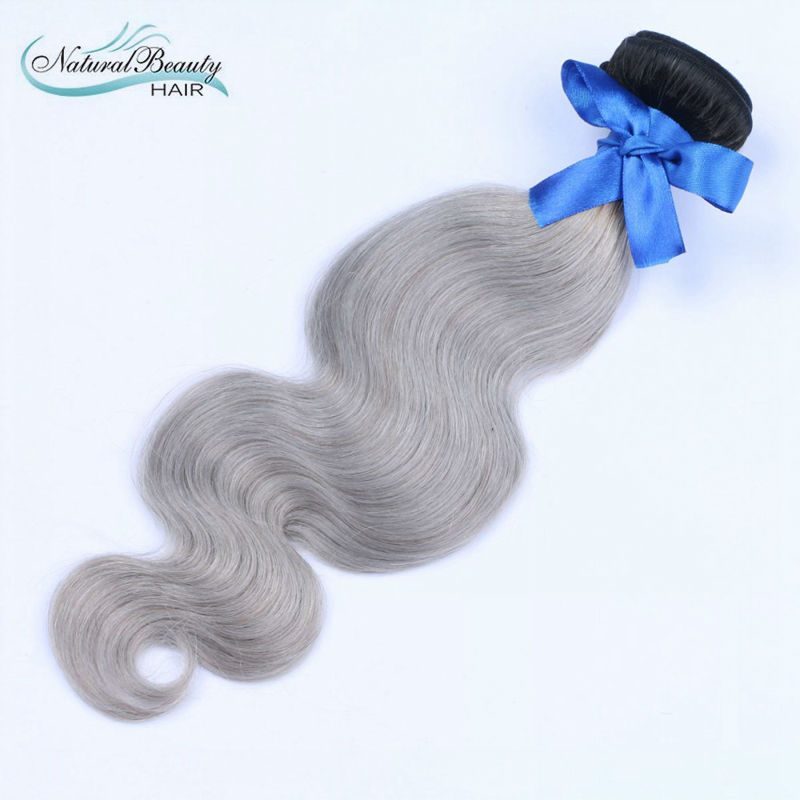 Human hair 1b grey Ombre hair Virgin Brazilian Human Hair straight hair 1 pcs a lot famous for America
