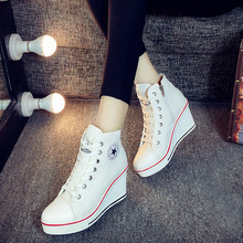 Spring canvas Women Boots Hidden Heel High Top Shoes Woman Casual Snickers Wedge Platform Max