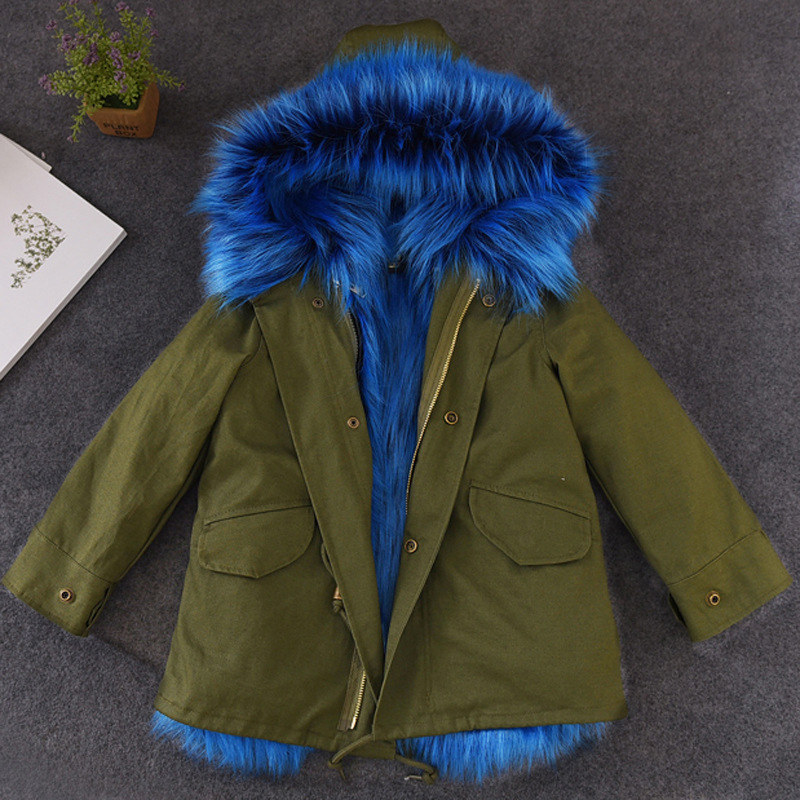 2018 Girls Fur Coat Parkas Winter Fur Collar Hooded Kid Jackets Snowsuit Removable Fox Fur Liner Children Thick Hooded Outerwear купить в Москве 2019