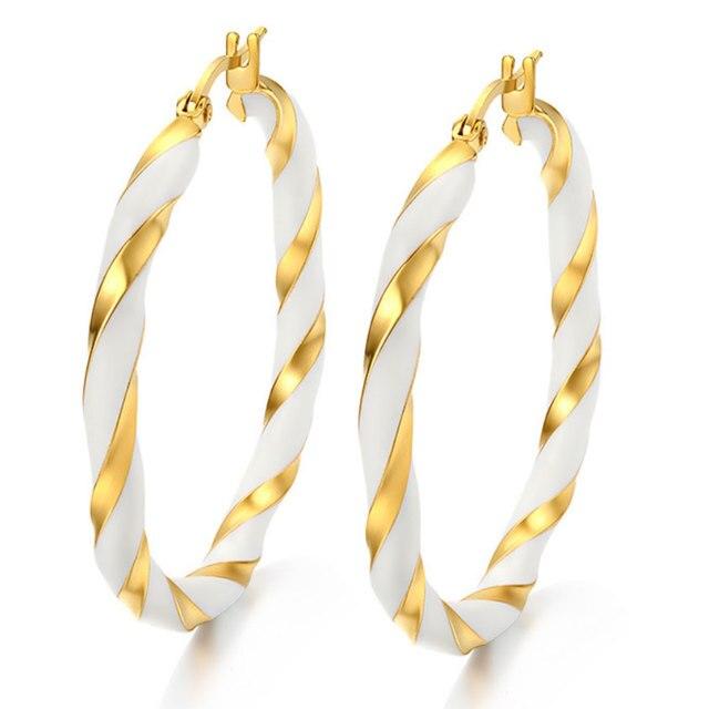 Moda Mujer Joyas de Oro Plateado Pendientes de Aro Para Las Mujeres de Acero Inoxidable 316L simple Roca AAA Aretes de circonio
