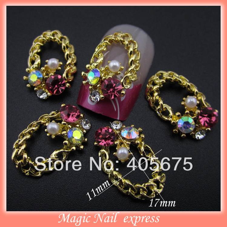 ⊰MNS278P crushed gold nail charms crystal colored rhinestones pearl ...