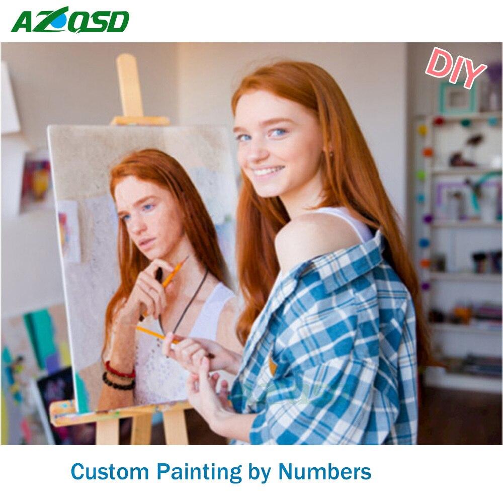 Persönlichkeit Foto Angepasst DIY Ölfarbe Gemälde Von Zahlen Bild Zeichnung von Zahlen Leinwand Färbung durch Zahlen Acryl