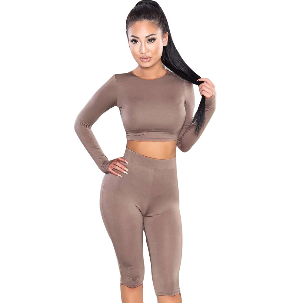 Free Ostrich Women Set New High Quality Fashion Suit Crop Top Pants O-Neck Party Outfit Workout Clothes Women D1335