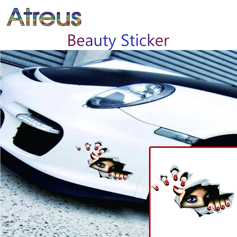 Atreus Car styling 3D funny stickers for VW Polo Jetta Toyota Corolla YARIS Mercedes W203 Saab Renault Dacia Duster Accessories
