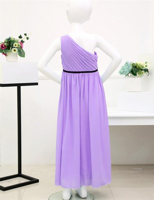 Chiffon One Shoulder Girls Purple Dress