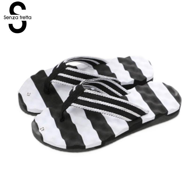 Senza Fretta Summer Men Slipper Fashion Striped Beach Flip Flops Men Summer Beach Men Striped Flip Flops Flat Man Shoes Oversize цена 2017
