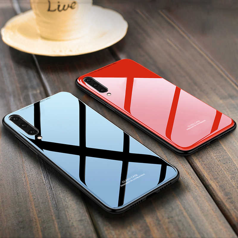 For Samsung Galaxy A30 Case Luxury Tempered Glass Soft Silicone For Samsung Galaxy A50 A10 A40 A70 Shockproof Hard Phone Cover