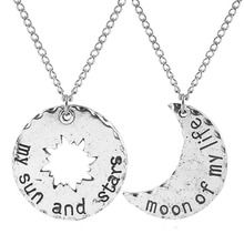 лучшая цена 1 Set Game Of Thrones Couple Necklaces Moon Of My Life My Sun And Stars Metal Pendant Choker Women Men Jewelry Accessories