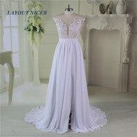 Romantic Summer Lace Beach Wedding Dresses 2016 Sheer Neck Chiffon Wedding Gowns Side Slit Bridal Dress
