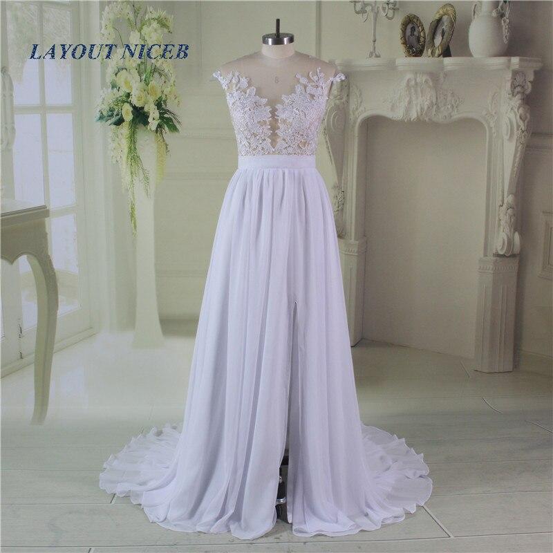 낭만주의 여름 흰 레이스 비치 웨딩 드레스 2017 쉬어 - 웨딩 드레스