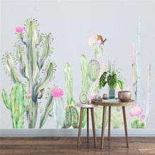 Simple hand-painted wallpaper garden cactus living room TV background wall professional custom mural