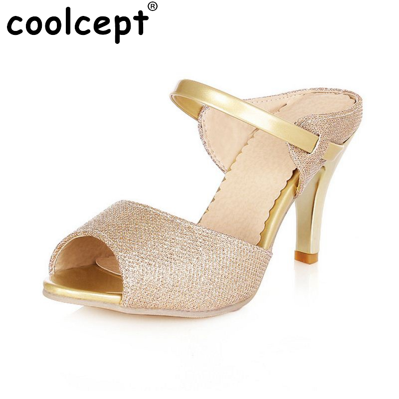 High Heels Sandals Gold Sliver Ankle-Wrap Women Sandals Beautiful Ladies Sandals Summer Shoes Gladiator Heels Size 32-43 PA00710