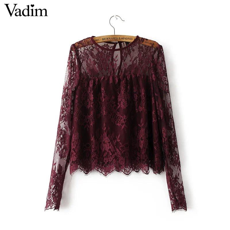 Для женщин винтажные прозрачное вино Кружевные рубашки Длинные рукава Круглая горловина блузка Европейский Стиль Модные женские брендовые Топы Blusas lt1503