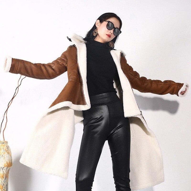 LANMREM 2018 New Fashion Irregular PU Leather Zipper Women Coat Long Sleeve Casual Winter Long Type