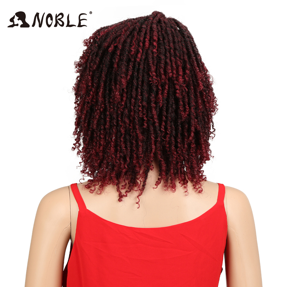 Noble Soft Short Synthetic Wigs For Black Women 14Inch High Temperature Fiber Full Head Dreadlock Ombre Burg Crochet Twist Hair
