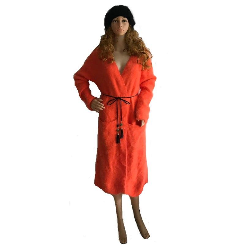 LOVELYKONKEY vison pull en cachemire femmes cardigan tricoté vison veste mode hiver long manteau de fourrure livraison gratuite M1048