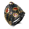 New black Rings for women black gold plated with cubic zircon color stone finger Ring fashion jewelry Free shipment full size