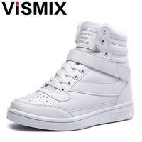 VISMIX 2017 Lente Herfst Enkellaarsjes Hakken Schoenen Vrouwen Casual Schoenen Hoogte Verhoogde Hoge Schoenen Gemengde Kleur Winter Laarzen