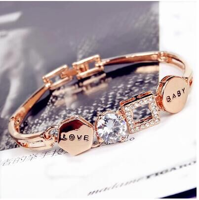 CA CA0003925 Sterling Silver Set Love Without Stone Bracelet With Box 16 17 18 19 20