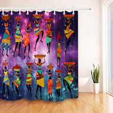 LB Waterproof Purple Galaxy Bathroom Curtain African American Afro Woman Bath Shower Polyester Fabric Bathtub Home Decor