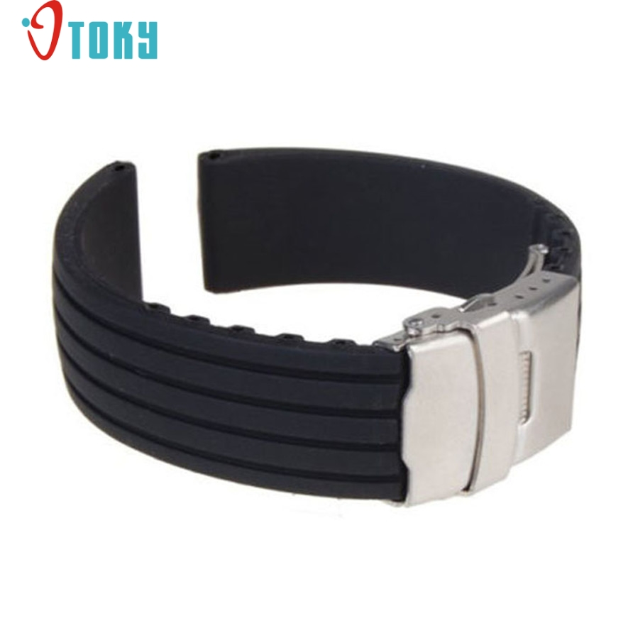 OTOKY Hot Wathbands Silicone Rubber Watch Strap Band Deployment Buckle watch band 18mm Drop ship F25 sunward hot unique watchbands mens black silicone rubber diver watch band strap drop ship f20