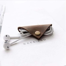 Genuine Leather Earphone Cable winder wrapped Cord Line Plug Bobbin Winder Clip Holder Wrap Wire Organizer