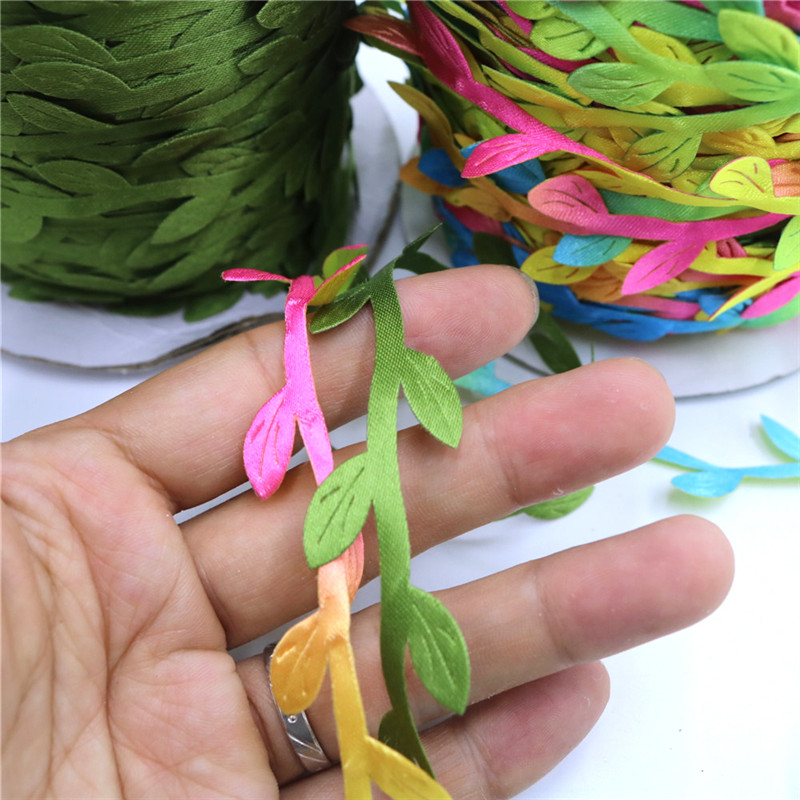 10 Meter Silk Leaf Shaped Handmake Artificial Green Leaves for Wedding Decoration DIY Wreath Gift Scrapbooking Craft Fake Flower in Artificial Dried Flowers from Home Garden