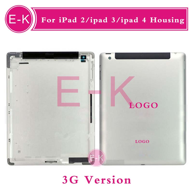 Original For iPad 2 ipad 3 ipad 4 Wifi or 3G Version Back housing Cover Rear Case 16GB 32GB 64GB With Logo Free shipping