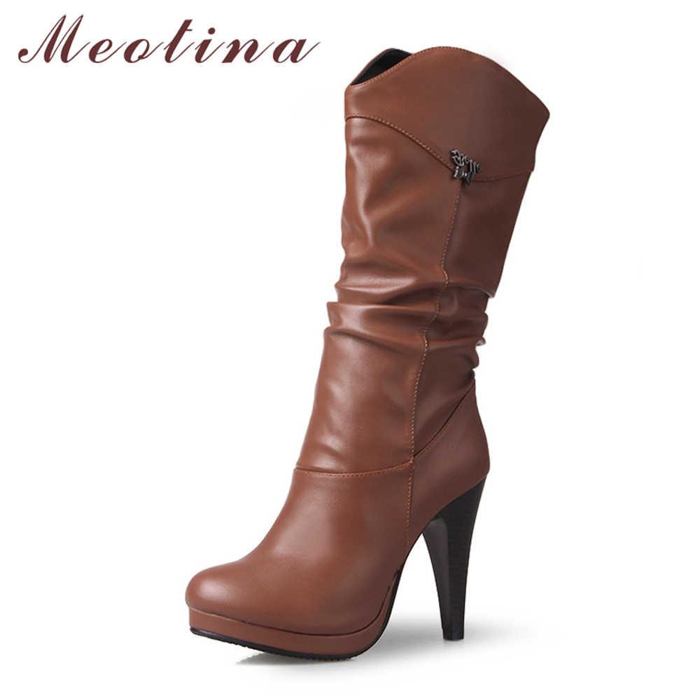 Meotina Chelsea Çizmeler Kadın Botları Pilili Aşırı Yüksek Topuk Orta Buzağı Çizmeler Platformu Kalın Topuk Ayakkabı Kadın Kış Büyük boyutu 46