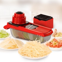 Multifunction Potato Vegetable Fruit Slicer Cutter Storage Container Stainless Steel Blade Mandoline Manual Slicer Grater Dicer