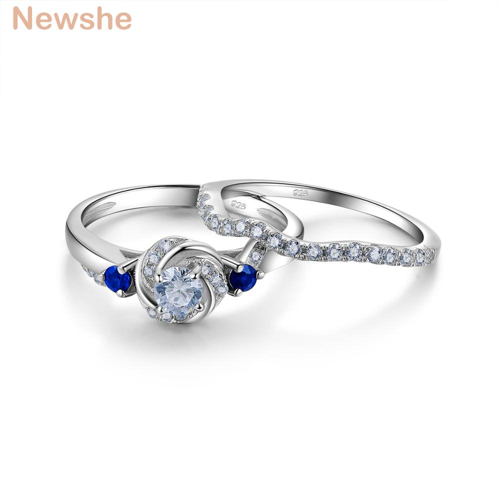 Newshe 925 Sterling Silver Wedding Ring Set Fashion Jewelry Round Cut Blue Side Stone AAA CZ Engagement Rings For Women JR5599 newshe pear shape blue side stones aaa cz solid 925 sterling silver wedding ring set engagement band fashion jewelry for women
